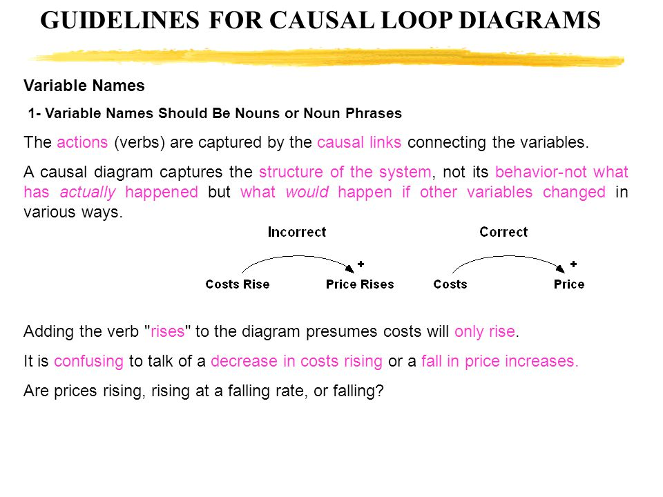 GUIDELINES FOR CAUSAL LOOP DIAGRAMS Variable Names 1- Variable Names Should Be Nouns or Noun Phrases The actions (verbs) are captured by the causal li