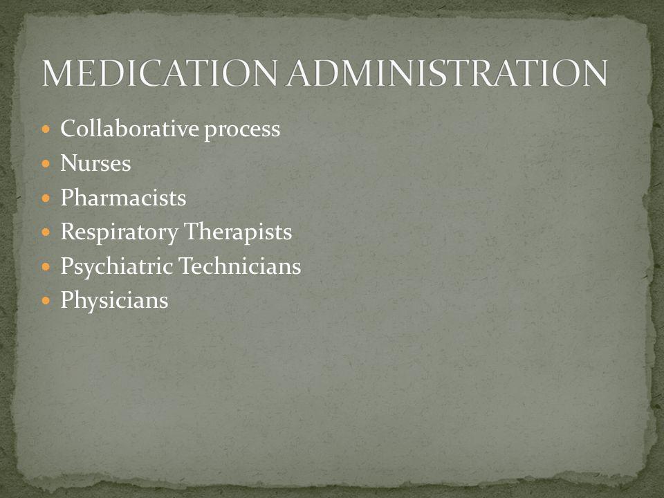 Collaborative process Nurses Pharmacists Respiratory Therapists Psychiatric Technicians Physicians