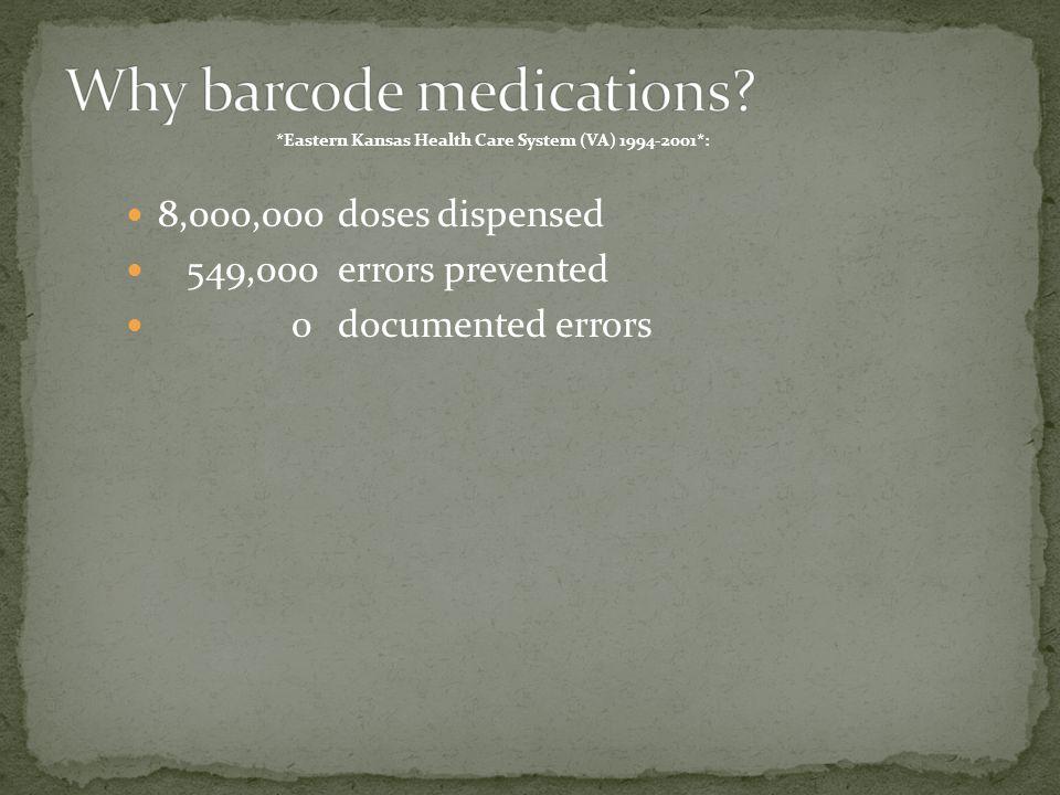 8,000,000doses dispensed 549,000errors prevented 0documented errors *Eastern Kansas Health Care System (VA) 1994-2001*: