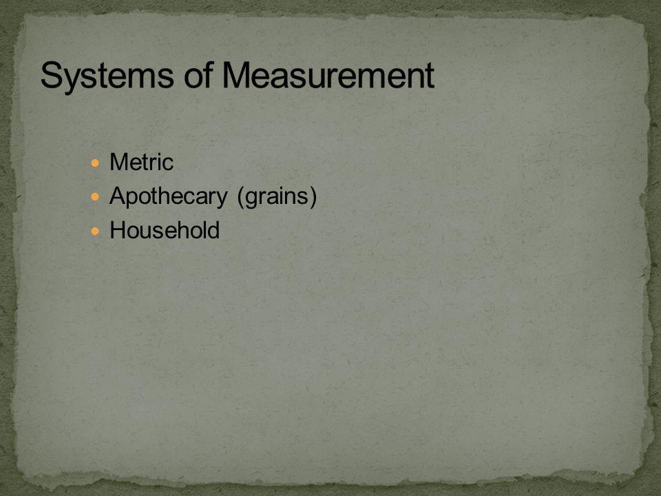 Metric Apothecary (grains) Household