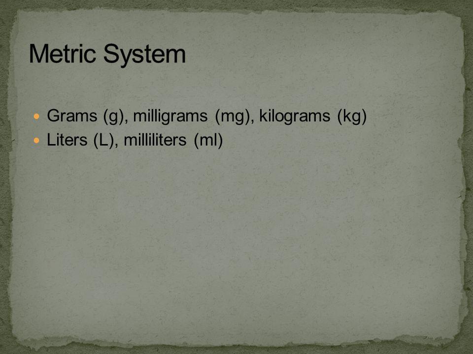 Grams (g), milligrams (mg), kilograms (kg) Liters (L), milliliters (ml)