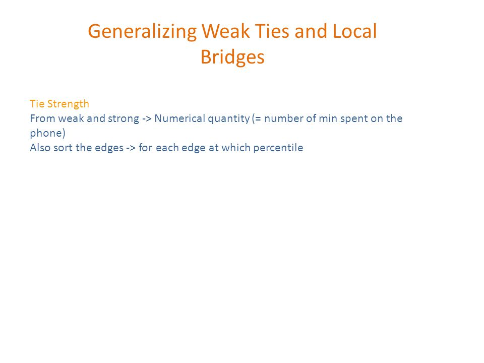 Generalizing Weak Ties and Local Bridges Tie Strength From weak and strong -> Numerical quantity (= number of min spent on the phone) Also sort the edges -> for each edge at which percentile