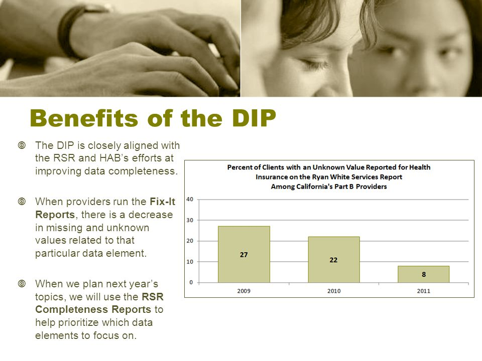 Benefits of the DIP  The DIP is closely aligned with the RSR and HAB's efforts at improving data completeness.