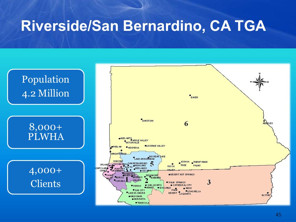 Riverside/San Bernardino, CA TGA 45 Population 4.2 Million 8,000+ PLWHA 4,000+ Clients