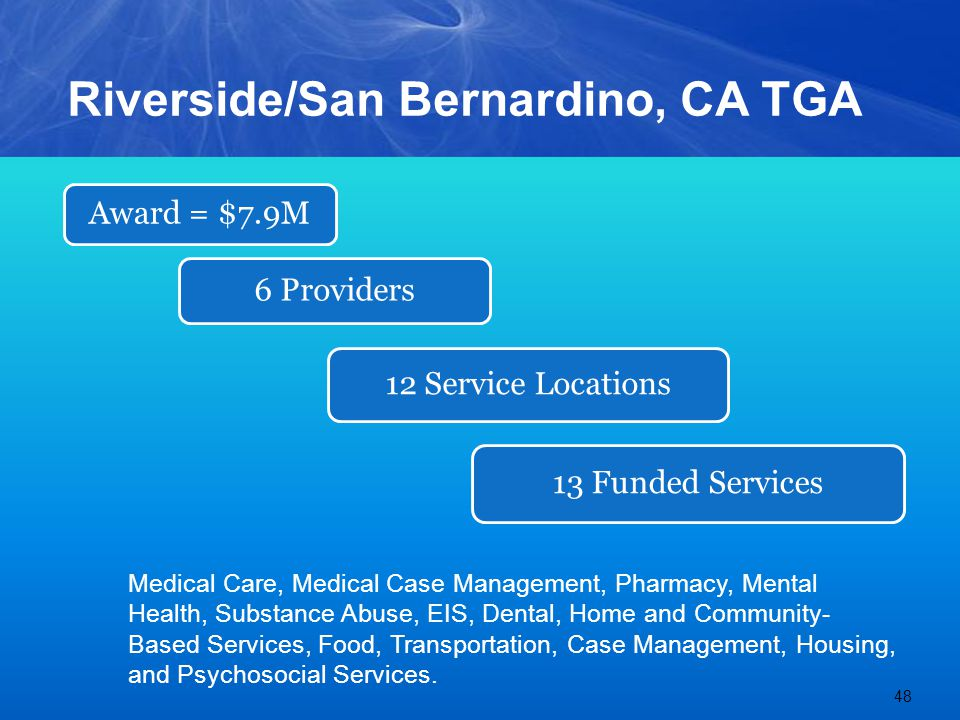 Riverside/San Bernardino, CA TGA Medical Care, Medical Case Management, Pharmacy, Mental Health, Substance Abuse, EIS, Dental, Home and Community- Based Services, Food, Transportation, Case Management, Housing, and Psychosocial Services.