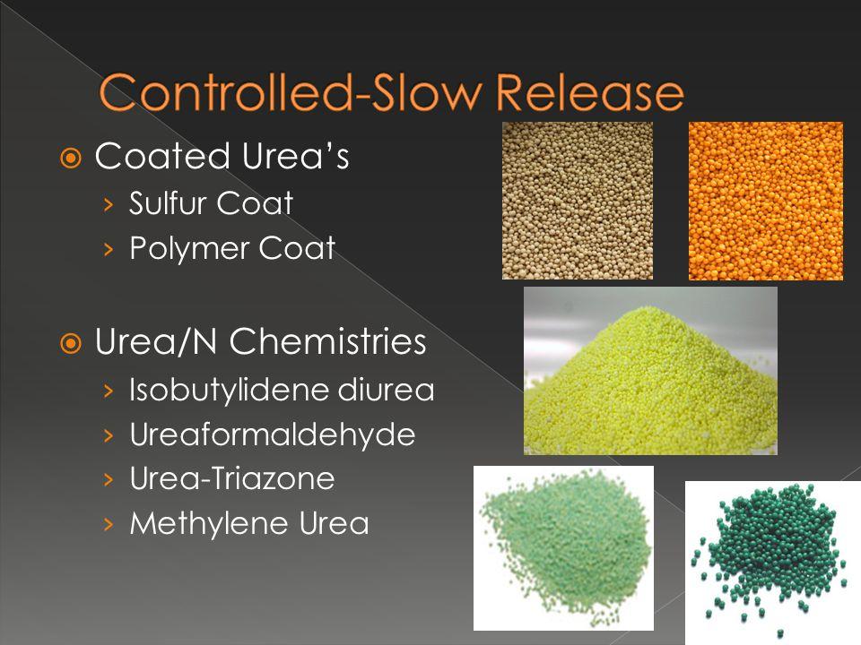  Coated Urea's › Sulfur Coat › Polymer Coat  Urea/N Chemistries › Isobutylidene diurea › Ureaformaldehyde › Urea-Triazone › Methylene Urea