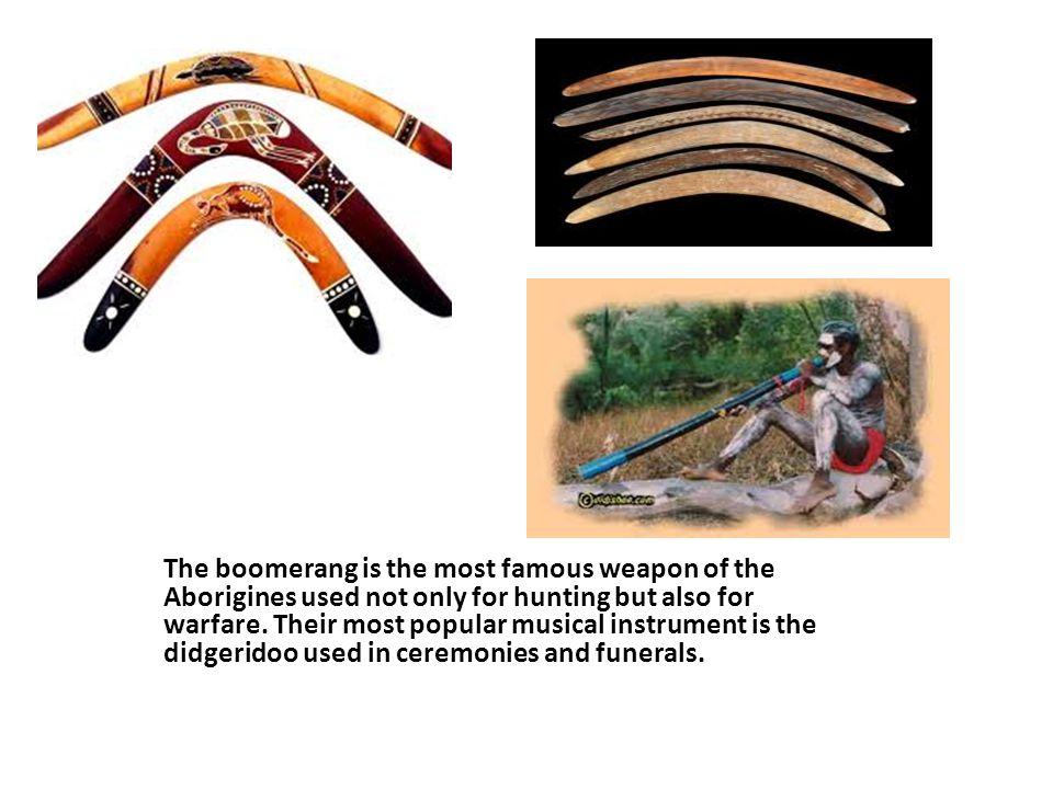 The boomerang is the most famous weapon of the Aborigines used not only for hunting but also for warfare.