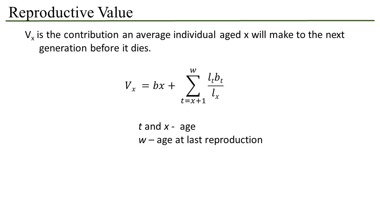 Reproductive Value V x is the contribution an average individual aged x will make to the next generation before it dies.