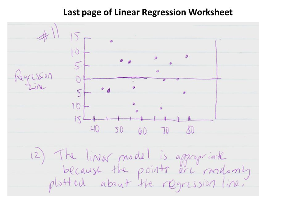 Last page of Linear Regression Worksheet