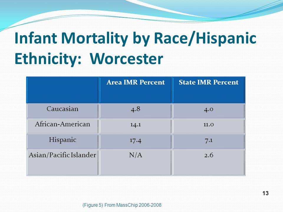 Infant Mortality by Race/Hispanic Ethnicity: Worcester Area IMR PercentState IMR Percent Caucasian4.84.0 African-American14.111.0 Hispanic17.47.1 Asia