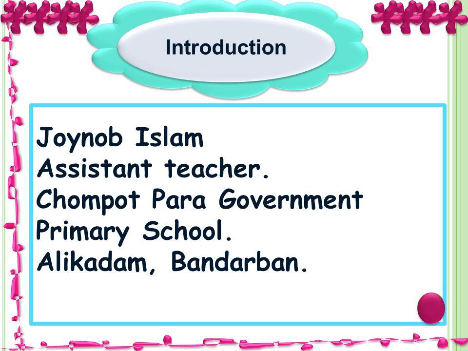 Introduction Joynob Islam Assistant teacher. Chompot Para Government Primary School. Alikadam, Bandarban.