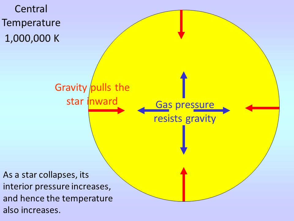 Central Temperature 1,000,000 K Gravity pulls the star inward Gas pressure resists gravity As a star collapses, its interior pressure increases, and hence the temperature also increases.