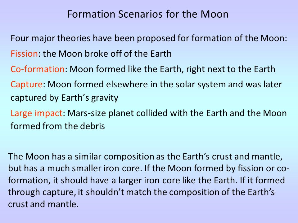 Four major theories have been proposed for formation of the Moon: Fission: the Moon broke off of the Earth Co-formation: Moon formed like the Earth, right next to the Earth Capture: Moon formed elsewhere in the solar system and was later captured by Earth's gravity Large impact: Mars-size planet collided with the Earth and the Moon formed from the debris Formation Scenarios for the Moon The Moon has a similar composition as the Earth's crust and mantle, but has a much smaller iron core.