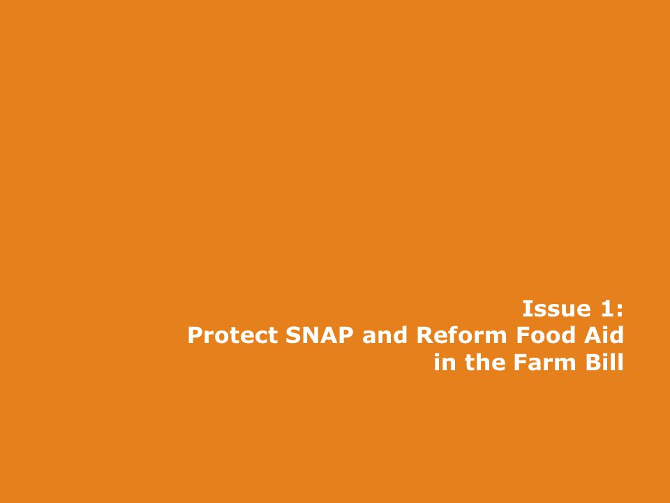 Issue 1: Protect SNAP and Reform Food Aid in the Farm Bill