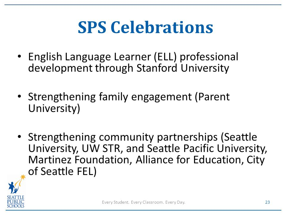 English Language Learner (ELL) professional development through Stanford University Strengthening family engagement (Parent University) Strengthening