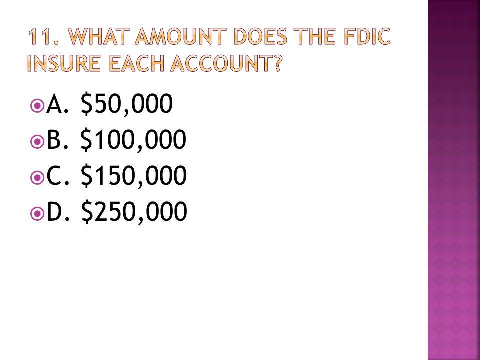  A. $50,000  B. $100,000  C. $150,000  D. $250,000