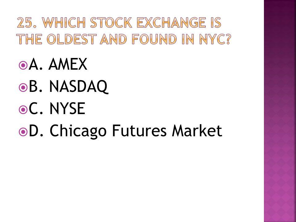  A. AMEX  B. NASDAQ  C. NYSE  D. Chicago Futures Market