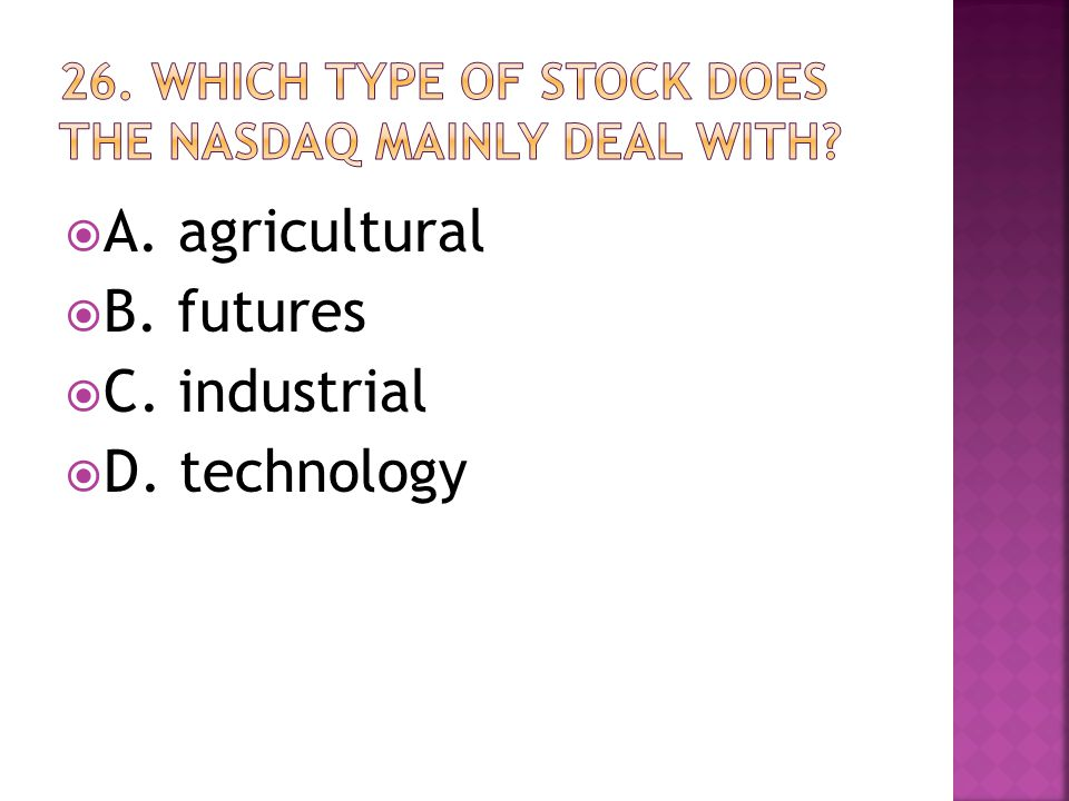  A. agricultural  B. futures  C. industrial  D. technology