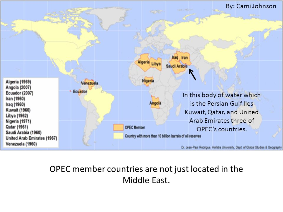OPEC member countries are not just located in the Middle East.