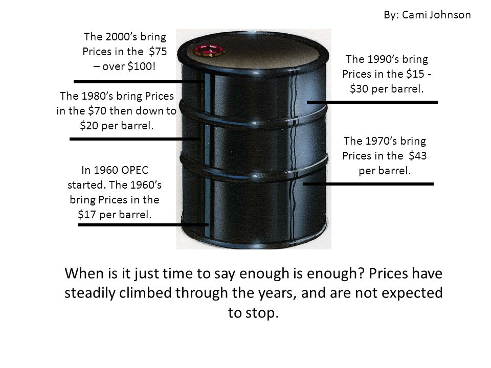 The 2000's bring Prices in the $75 – over $100. The 1970's bring Prices in the $43 per barrel.