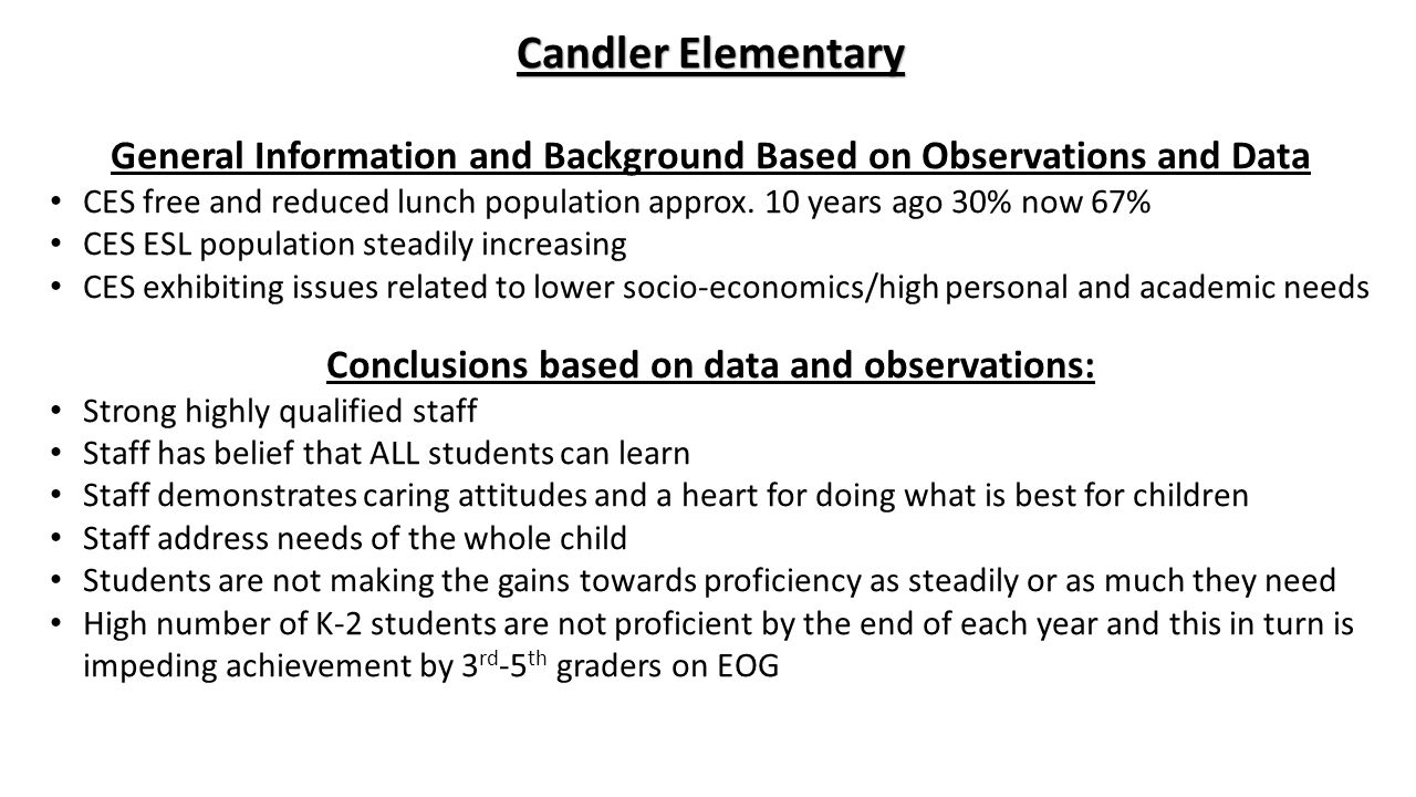 Candler Elementary General Information and Background Based on Observations and Data CES free and reduced lunch population approx.
