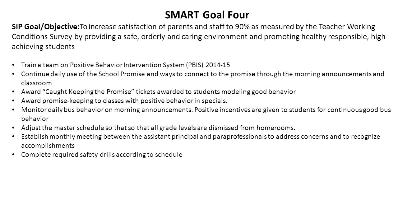 SMART Goal Four SIP Goal/Objective:To increase satisfaction of parents and staff to 90% as measured by the Teacher Working Conditions Survey by providing a safe, orderly and caring environment and promoting healthy responsible, high- achieving students Train a team on Positive Behavior Intervention System (PBIS) 2014-15 Continue daily use of the School Promise and ways to connect to the promise through the morning announcements and classroom Award Caught Keeping the Promise tickets awarded to students modeling good behavior Award promise-keeping to classes with positive behavior in specials.