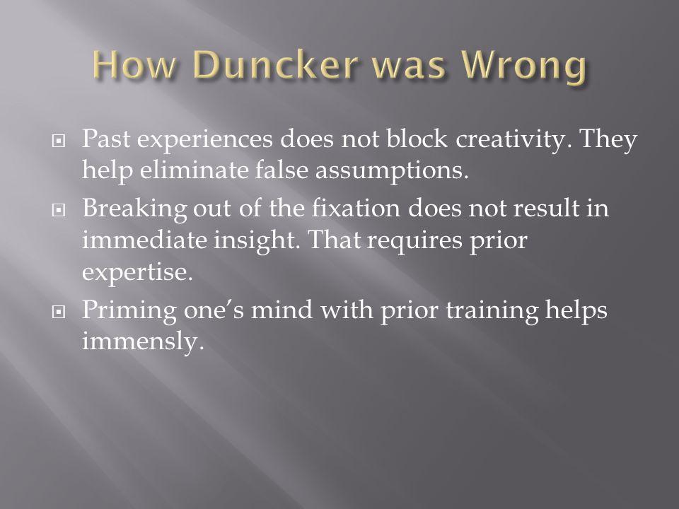  Past experiences does not block creativity. They help eliminate false assumptions.