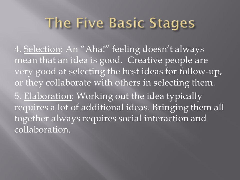 4.Selection: An Aha! feeling doesn't always mean that an idea is good.
