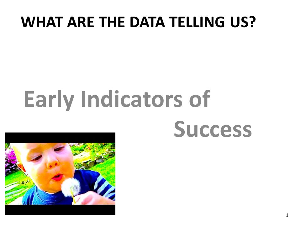 Early Indicators of Success WHAT ARE THE DATA TELLING US 1