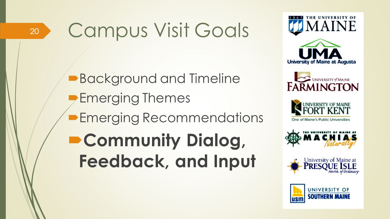 Campus Visit Goals  Background and Timeline  Emerging Themes  Emerging Recommendations  Community Dialog, Feedback, and Input 20