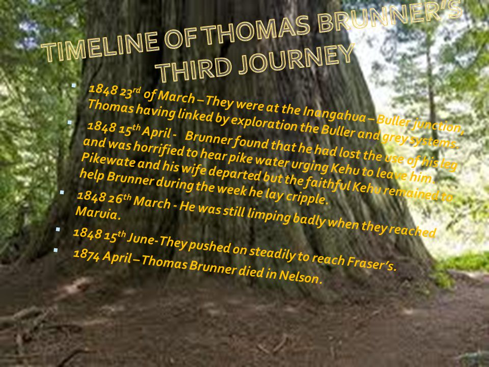  1848 23 rd of March – They were at the Inangahua – Buller junction, Thomas having linked by exploration the Buller and grey systems.