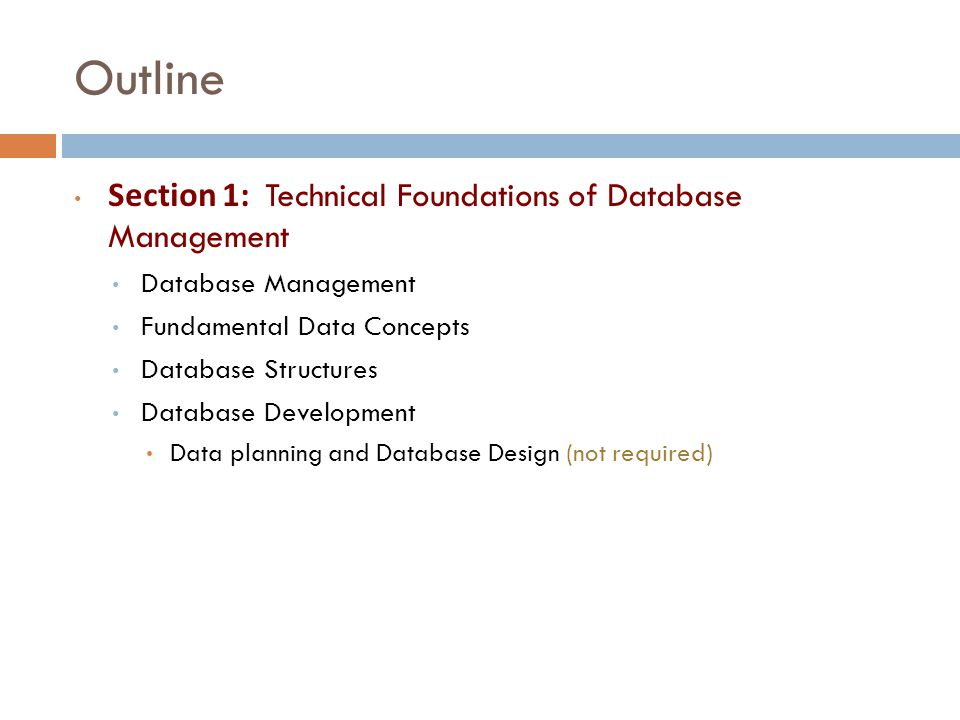 Technical Foundations of Database Management Section 1