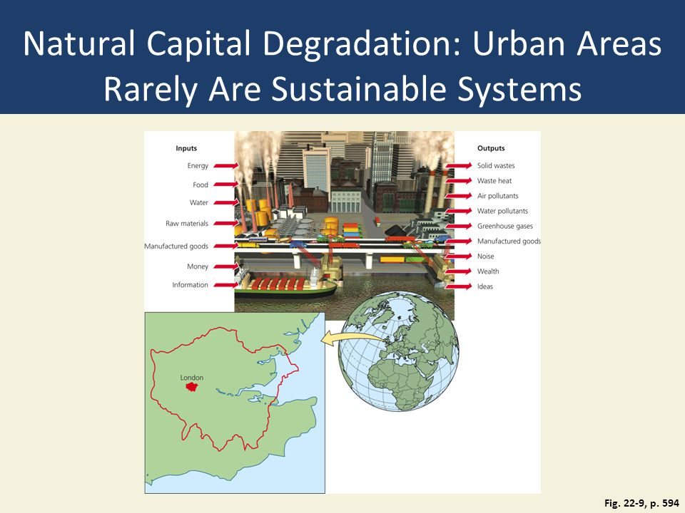 Natural Capital Degradation: Urban Areas Rarely Are Sustainable Systems Fig. 22-9, p. 594