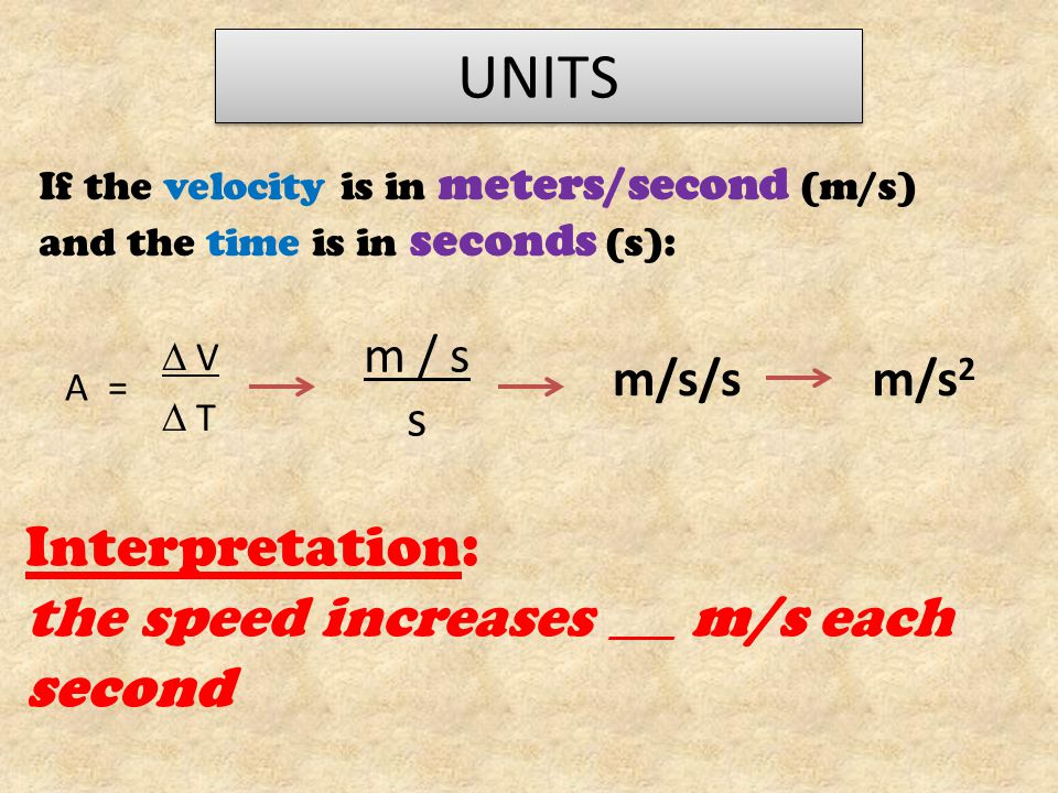 UNITS If the velocity is in meters/second (m/s) and the time is in seconds (s): A =  V  T m / s s m/s/s Interpretation: the speed increases _____ m/s each second m/s 2