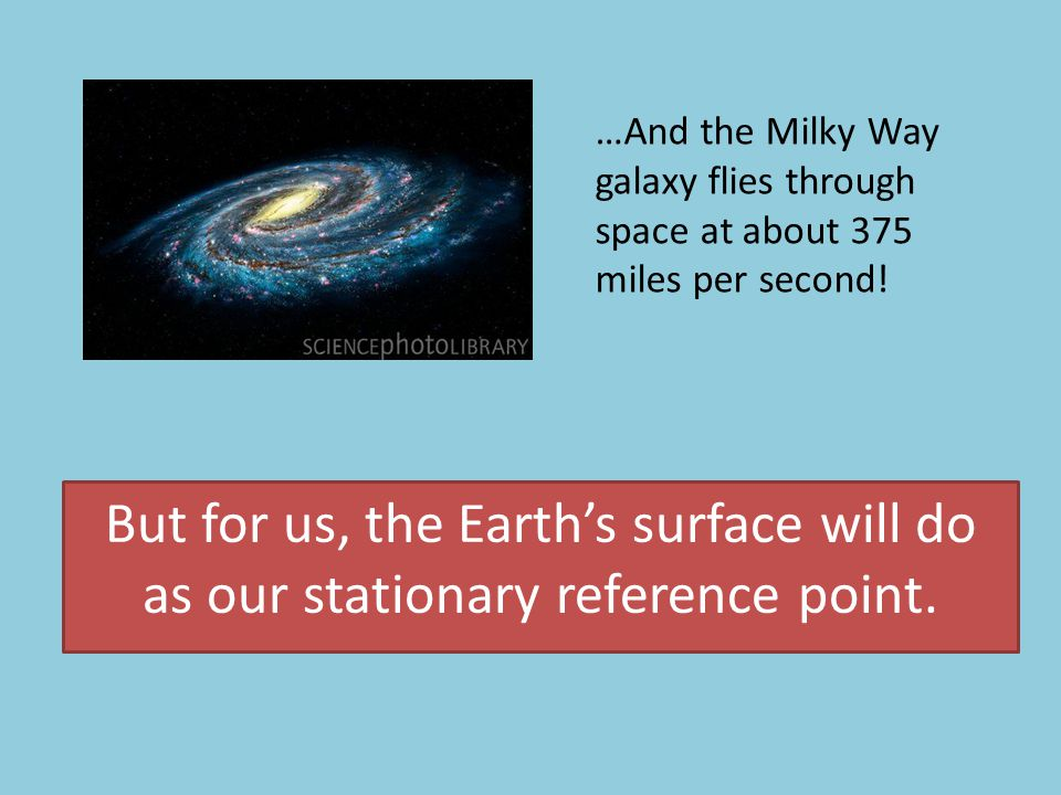 But for us, the Earth's surface will do as our stationary reference point.