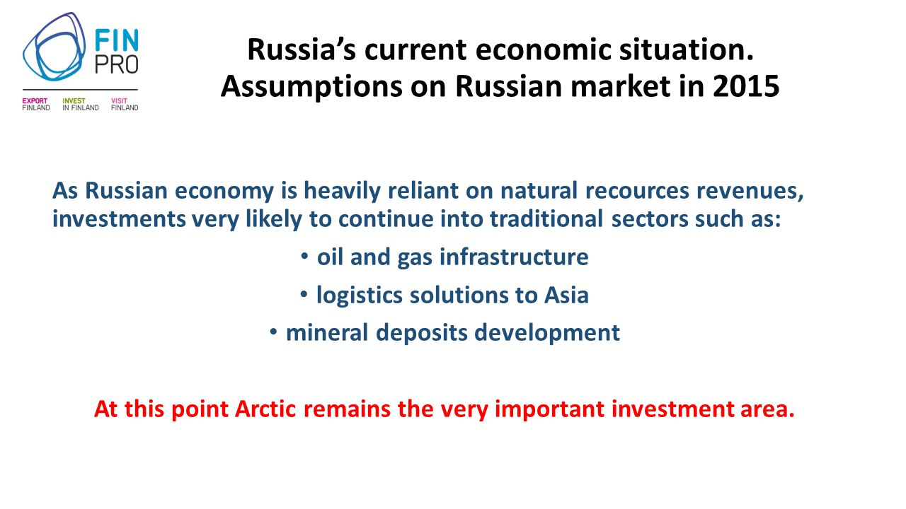 Russia's current economic situation.