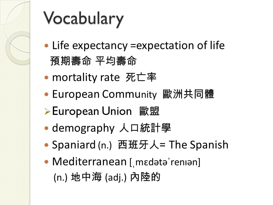 Vocabulary Life expectancy =expectation of life 預期壽命 平均壽命 mortality rate 死亡率 European Commu nity 歐洲共同體  European Union 歐盟 demography 人口統計學 Spaniard (n.) 西班牙人 = The Spanish Mediterranean [ˌmɛdətəˈrenɪən] (n.) 地中海 (adj.) 內陸的