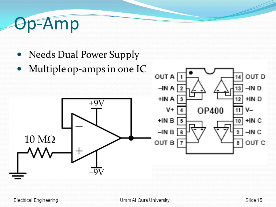 Op-Amp Needs Dual Power Supply Multiple op-amps in one IC Electrical EngineeringUmm Al-Qura UniversitySlide 15