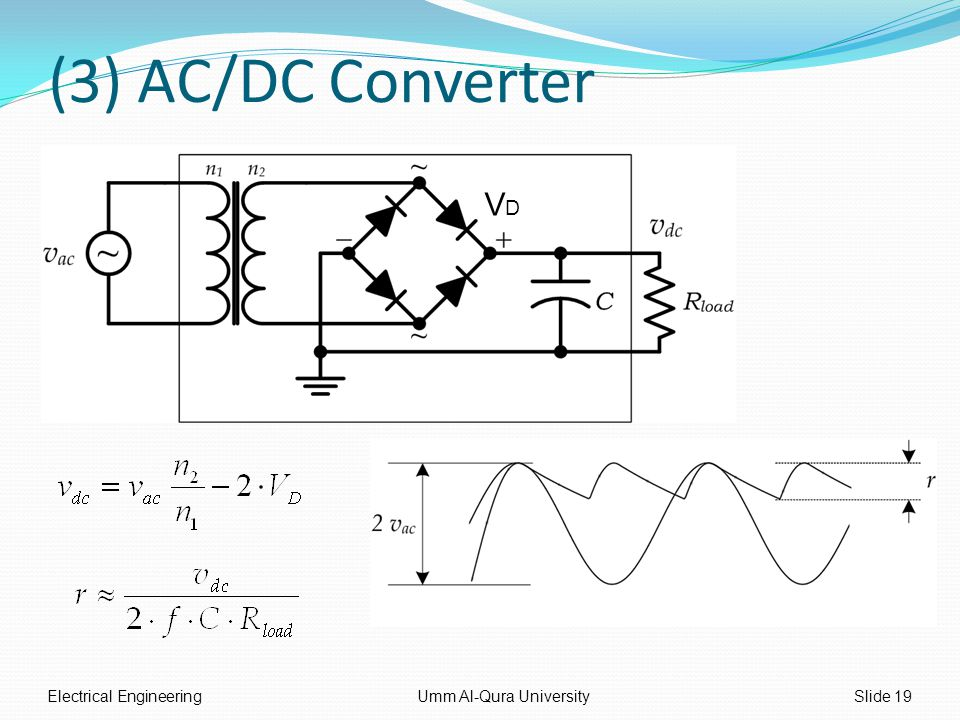 (3) AC/DC Converter Electrical EngineeringUmm Al-Qura UniversitySlide 19 VDVD