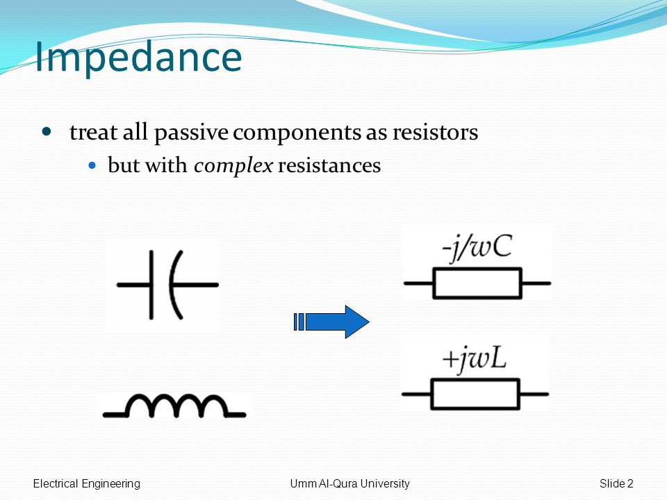 Impedance treat all passive components as resistors but with complex resistances Electrical EngineeringUmm Al-Qura UniversitySlide 2