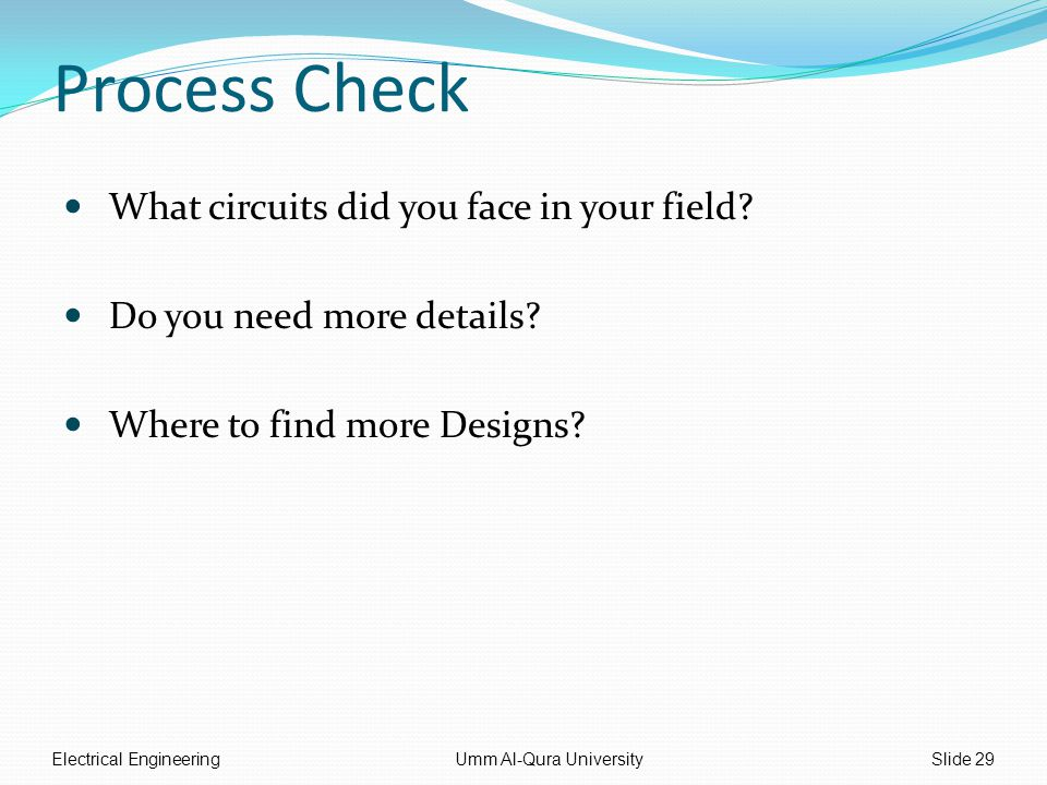 Process Check What circuits did you face in your field.