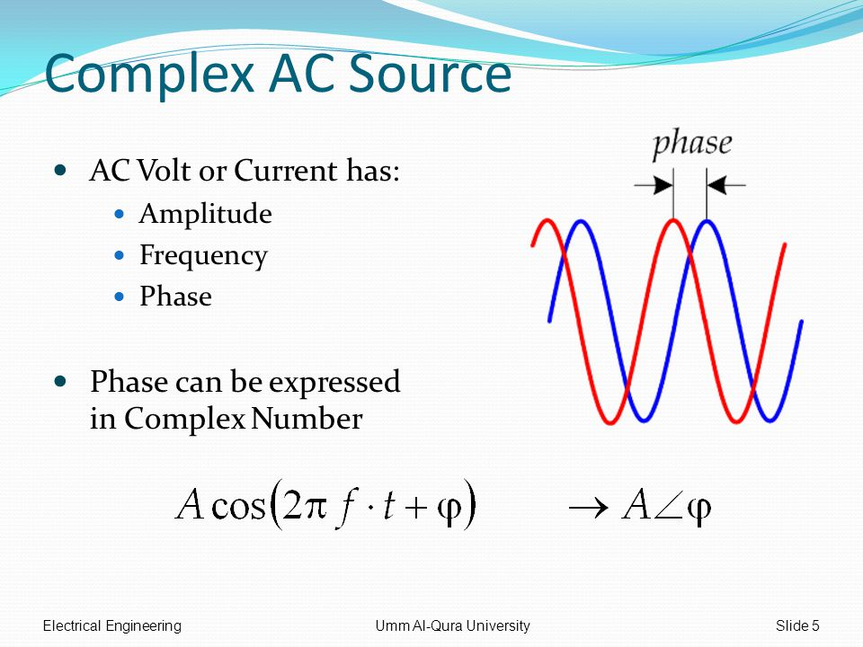 Complex AC Source AC Volt or Current has: Amplitude Frequency Phase Phase can be expressed in Complex Number Electrical EngineeringUmm Al-Qura UniversitySlide 5