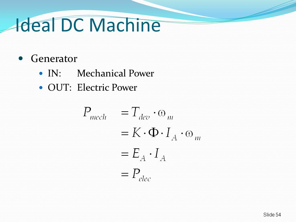 Ideal DC Machine Generator IN:Mechanical Power OUT:Electric Power Slide 54