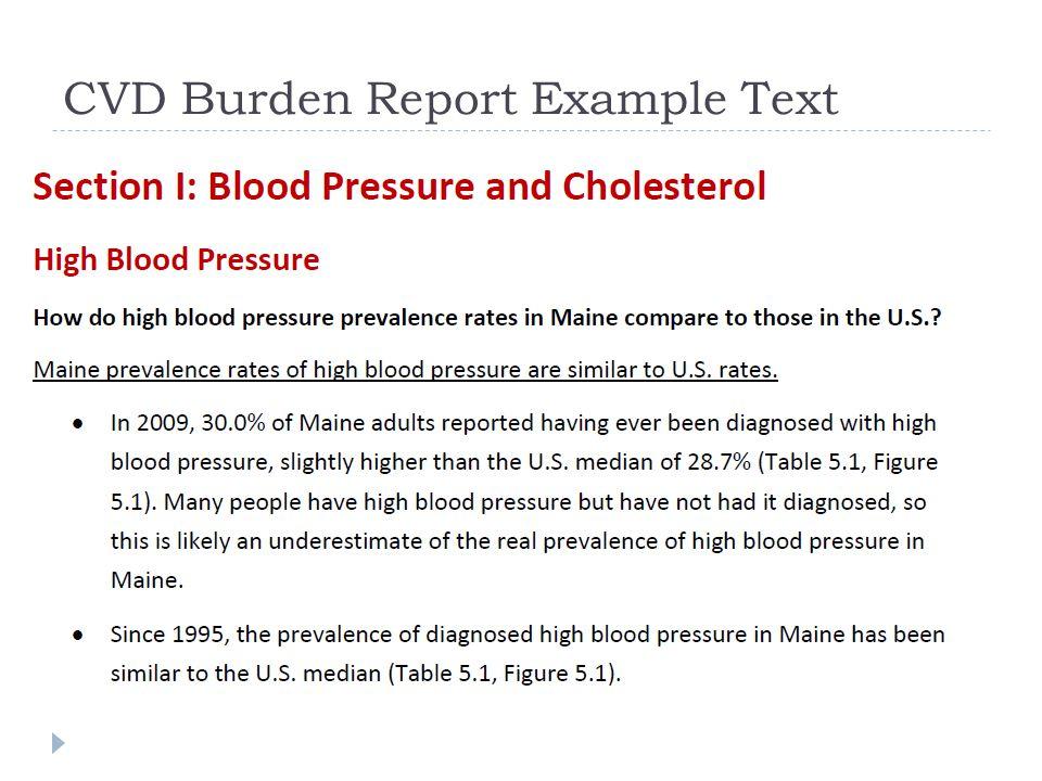 CVD Burden Report Example Text