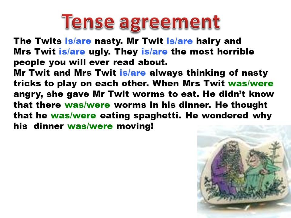 The Twits is/are nasty.Mr Twit is/are hairy and Mrs Twit is/are ugly.