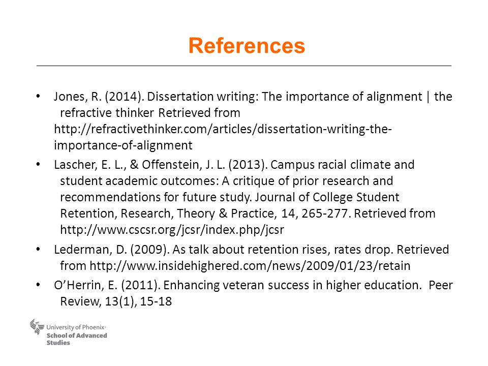 References Jones, R. (2014). Dissertation writing: The importance of alignment | the refractive thinker Retrieved from http://refractivethinker.com/ar