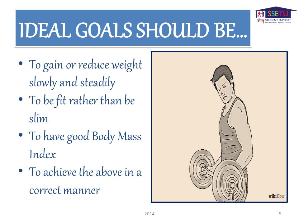 To gain or reduce weight slowly and steadily To be fit rather than be slim To have good Body Mass Index To achieve the above in a correct manner 20145