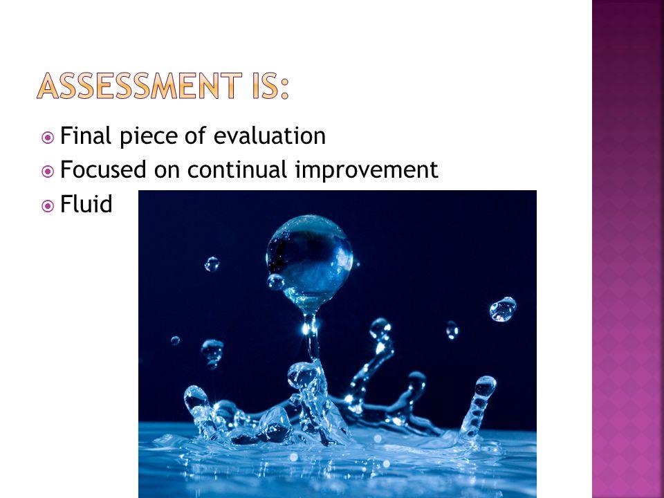  Final piece of evaluation  Focused on continual improvement  Fluid