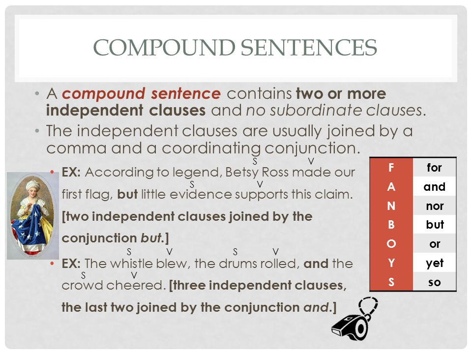Ffor Aand Nnor Bbut Oor Yyet Sso COMPOUND SENTENCES A compound sentence contains two or more independent clauses and no subordinate clauses. The indep