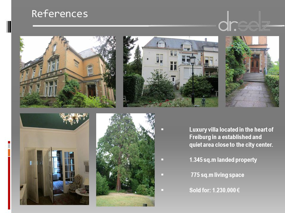  Luxury villa located in the heart of Freiburg in a established and quiet area close to the city center.